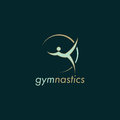 Gymnastics green vector logo design with dark background