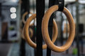 Gymnastics Rings in the gym Royalty Free Stock Photo