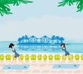 Gymnastics In a summer seaside resort