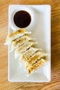 Gyoza on white plate dim sum call japanese food Stock Photography