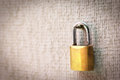 Gypsum wall and pad lock close up with background Stock Image