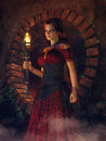 Gypsy girl with a torch Royalty Free Stock Photo