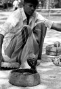 The gypsy a with his pet cobra in srilanka Stock Photos