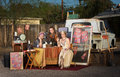 Gypsy travellers outside with fortune telling stand Stock Image