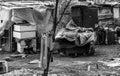Gypsy unhygienic settlement in Belgrade, b&w Royalty Free Stock Photo