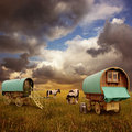 Gypsy Wagons, Caravans Royalty Free Stock Photo