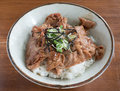 Gyudon: Japanese beef and rice bowls with salad Royalty Free Stock Photo