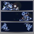 Gzhel horizontal banners set of three dark blue with floral elements in style Royalty Free Stock Photos