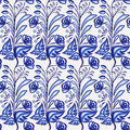 Gzhel motif background. Seamless pattern of Chinese or Russian porcelain painting with small blue flowers and leaves.
