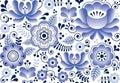 Gzhel seamless pattern, Russian folk art design, retro ceramics style