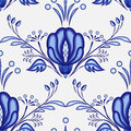 Gzhel style background. Seamless pattern of Chinese or Russian porcelain painting with large blue flowers.