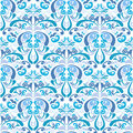 Gzhel style damask background seamless pattern in blue colors pattern blue on white colors of of russian ceramics vector file is Stock Photography