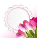 Härliga rosa realistiska tulip background vector Royaltyfria Bilder