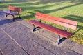 Hösten benches park två Royaltyfri Bild