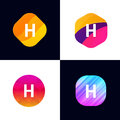 H letter vector company icon signs flat symbols logo set Royalty Free Stock Photo