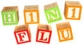 H1N1 Flu in Alphabet Blocks Royalty Free Stock Images