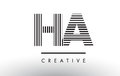 HA H A Black and White Lines Letter Logo Design.