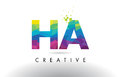 HA H A Colorful Letter Origami Triangles Design Vector.