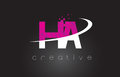 HA H A Creative Letters Design With White Pink Colors