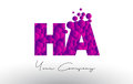 HA H A Dots Letter Logo with Purple Bubbles Texture.