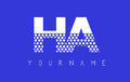 HA H A Dotted Letter Logo Design with Blue Background.