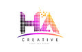 HA H A Letter Logo Design with Magenta Dots and Swoosh
