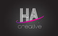 HA H A Letter Logo with Lines Design And Purple Swoosh.
