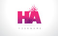 HA H A Letter Logo with Pink Purple Color and Particles Dots Des