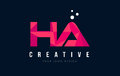 HA H A Letter Logo with Purple Low Poly Pink Triangles Concept