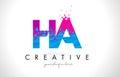 HA H A Letter Logo with Shattered Broken Blue Pink Texture Desig