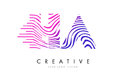 HA H A Zebra Lines Letter Logo Design with Magenta Colors