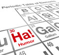 Ha humor element periodic table funny laughter comedy the of on a to illustrate the value of and in life Stock Image