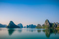 Ha long bay islands with reflections Royalty Free Stock Photo