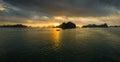 Ha Long Bay, Vietnam - December 02, 2015: Sunrise at Halong Bay, Vietnam. Unesco World Heritage Site. Most popular place in Vietna Royalty Free Stock Photo