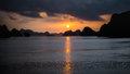 Ha Long Bay, Vietnam - December 02, 2015: Sunrise at Halong Bay, Vietnam. Unesco World Heritage Site. Most popular place in Vietna Royalty Free Stock Photo