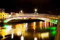 Ha'penny Bridge in Dublin at night Royalty Free Stock Image