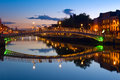 Ha penny bridge in dublin reland the known later for a time as the and officially the liffey is a pedestrian Stock Photo