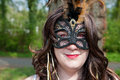 Haarzuilens netherlands april masked woman red eyes participates fantasy fair event april haarzuilens utrecht netherlands each Royalty Free Stock Image
