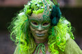 Haarzuilens netherlands april masked woman wearing green outfit participates fantasy fair april haarzuilens utrecht netherlands Stock Photography