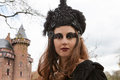 Haarzuilens netherlands april woman black dress participates fantasy fair april haarzuilens utrecht netherlands each year castle Stock Image