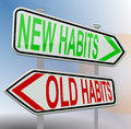 Habits old new, road sign, red green Royalty Free Stock Photo