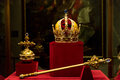 Habsburg s crown sceptre and orb in the hofburg treasury Royalty Free Stock Photography