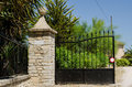 Hacienda gate entrance to a spanish on a bright sunny day Royalty Free Stock Images