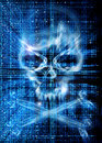 Hacker attack with skull background Royalty Free Stock Photo
