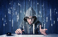 Hacker decoding information from futuristic network technology with white symbols Stock Photo