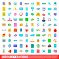 100 hacker icons set, cartoon style
