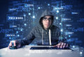 Hacker programing in technology enviroment with cyber icons and symbols Royalty Free Stock Photography
