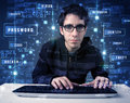 Hacker programing in technology enviroment with cyber icons and symbols Royalty Free Stock Image