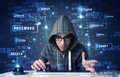 Hacker programing in technology enviroment with cyber icons and symbols Stock Images