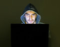 Hacker trying to scam people online Royalty Free Stock Photo
